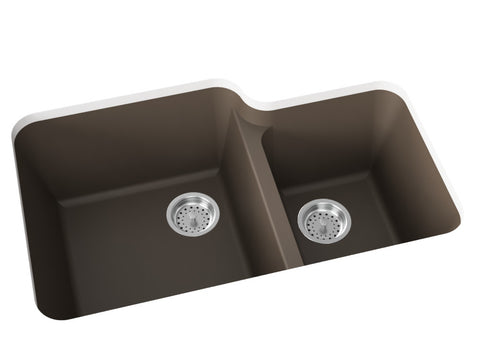 grey brown double basin kitchen sink