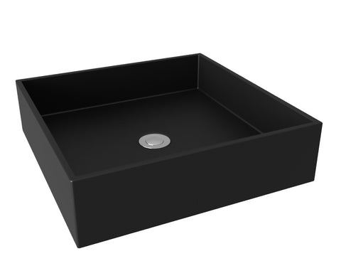 midnight black flat bottom vessel bathroom sink