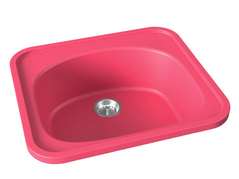 berry pink drop-in kitchen bar sink
