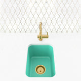 "Single Bowl Small Space Undermount Bar Prep Sink 16"" - Sam in Breakfast at Tiffany's / Teal"