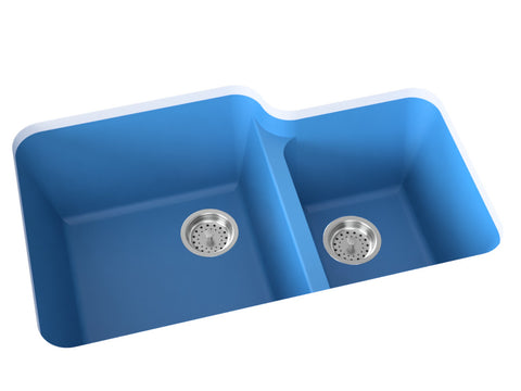 sky-blue blue double basin kitchen sink