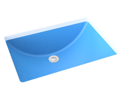 sky-blue blue undermount bathroom sink