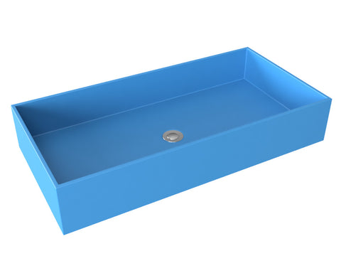 sky-blue blue vessel wallmountable bathroom sink