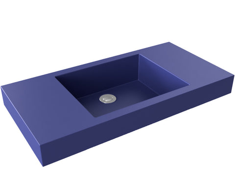 cobalt blue flat bottom vessel bathroom sink