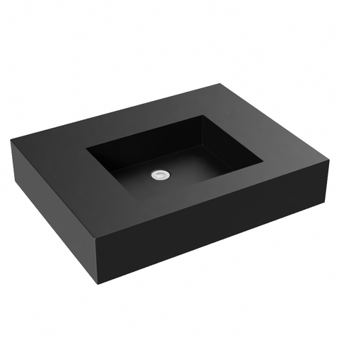 midnight black flat bottom wallmount bathroom sink