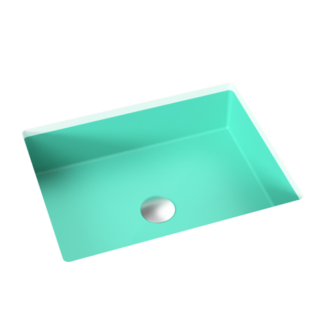 "Rectangular Undermount Bathroom Sink, 16"" - Suzanne in Breakfast at Tiffany's / Teal"