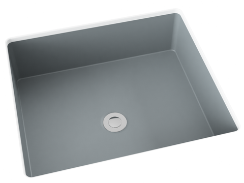 grey flat bottom undermount bathroom sink
