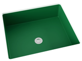 green flat bottom undermount bathroom sink