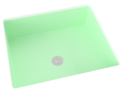 mint green flat bottom undermount bathroom sink