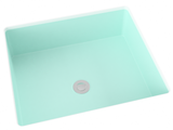 silver grey flat bottom undermount bathroom sink