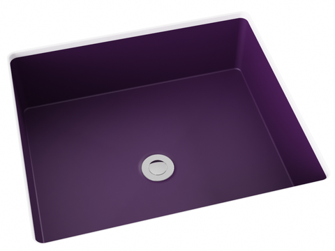 purple flat bottom undermount bathroom sink