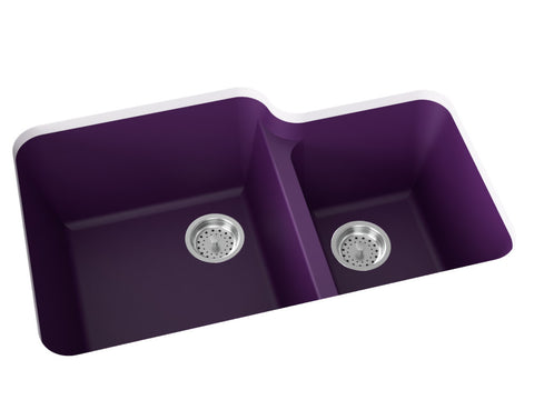 purple double basin kitchen sink