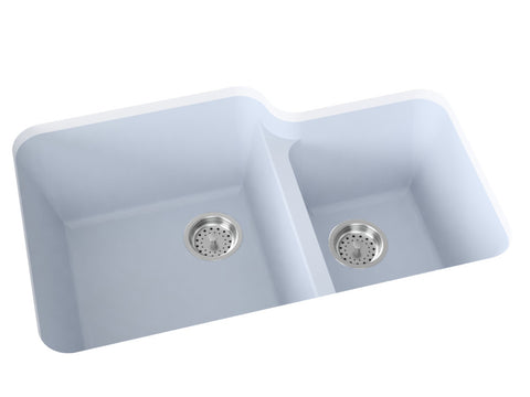 blue grey double basin kitchen sink
