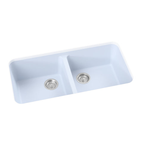blue grey undermount double basin kitchen sink