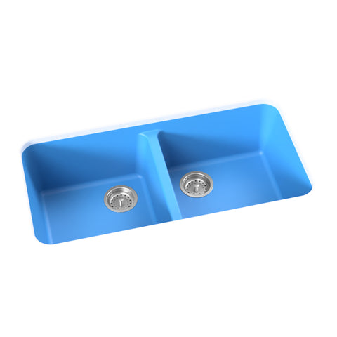 blue undermount double basin kitchen sink