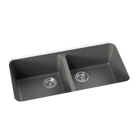 dark grey undermount double basin kitchen sink