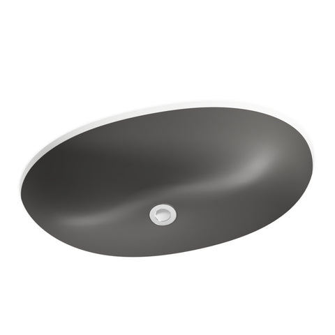 grey undermount round bathroom sink
