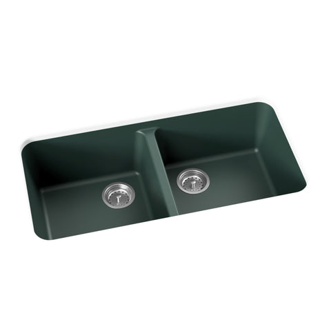 emerald green undermount double basin kitchen sink