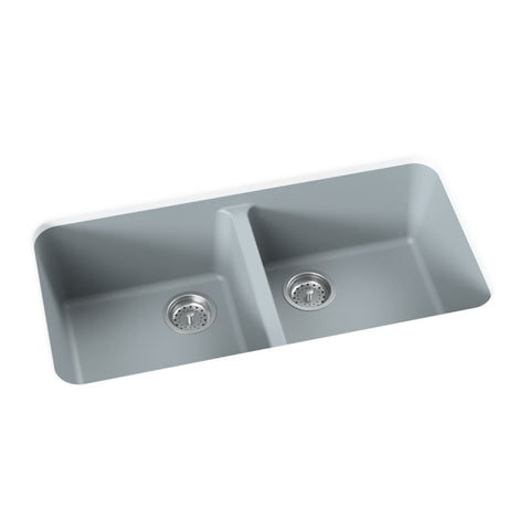 light grey undermount double basin kitchen sink
