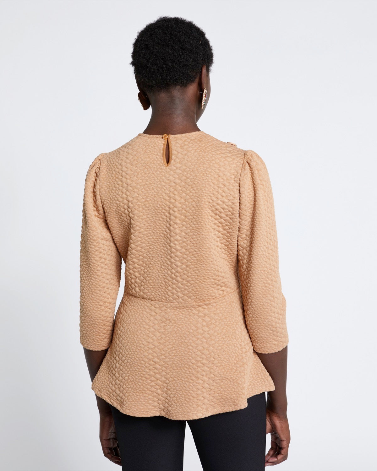 Front Button Jacquard Top camel