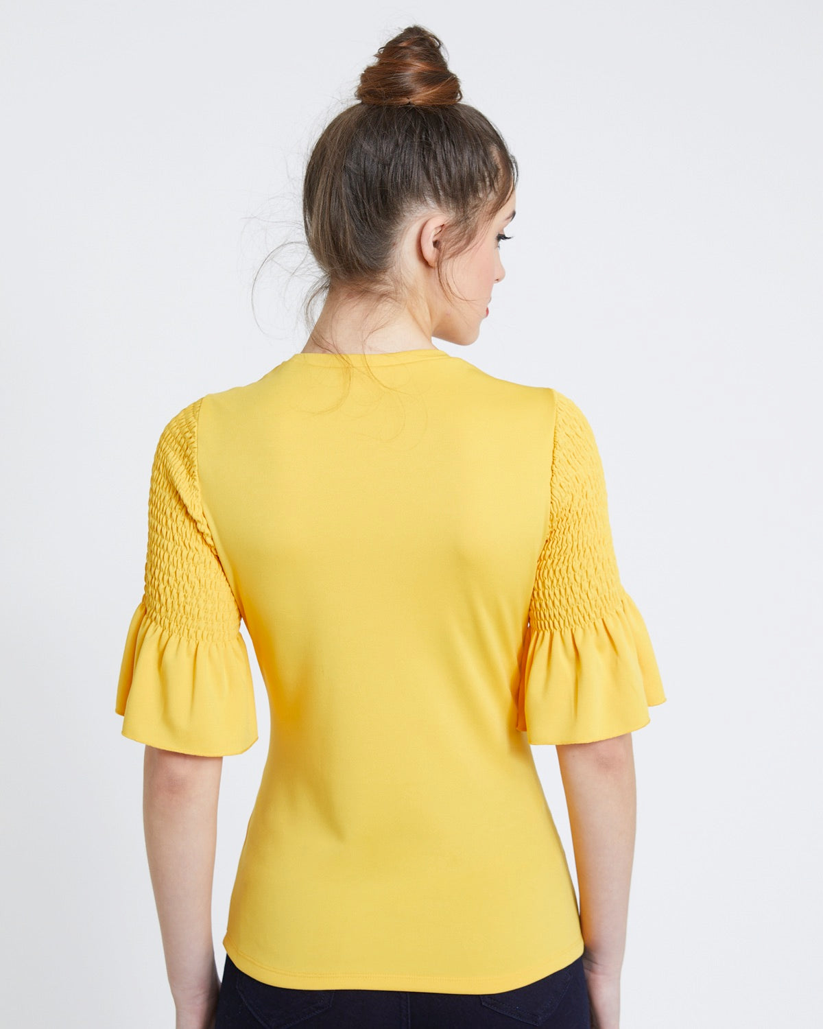 Shirred Sleeve Detail Top mostaza - Savida