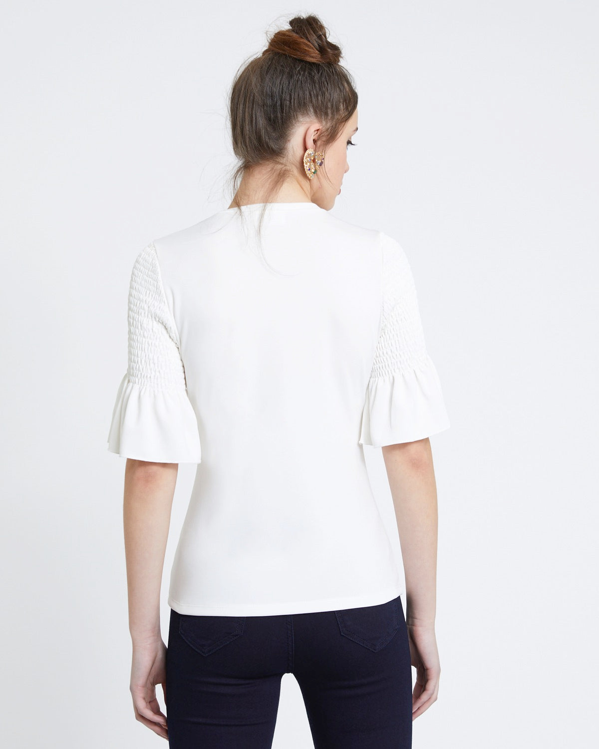 Shirred Sleeve Detail Top blanco hueso - Savida