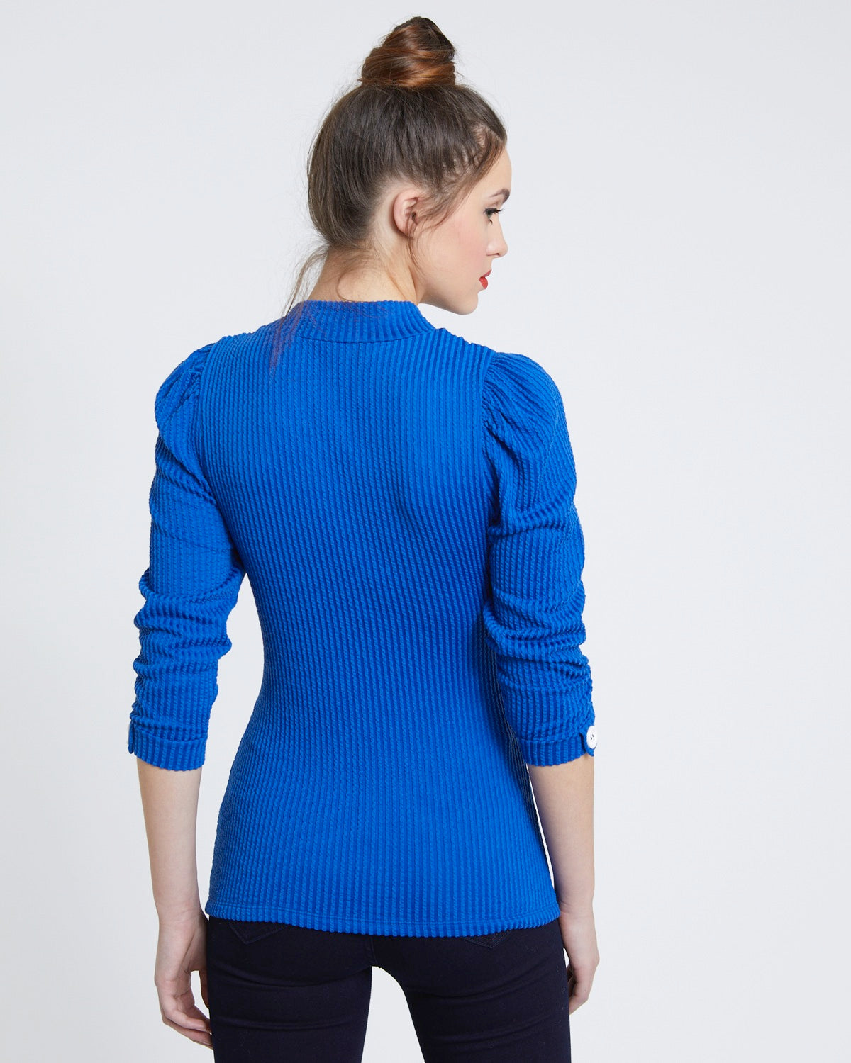 Button Sleeve Texture Top azul - Savida