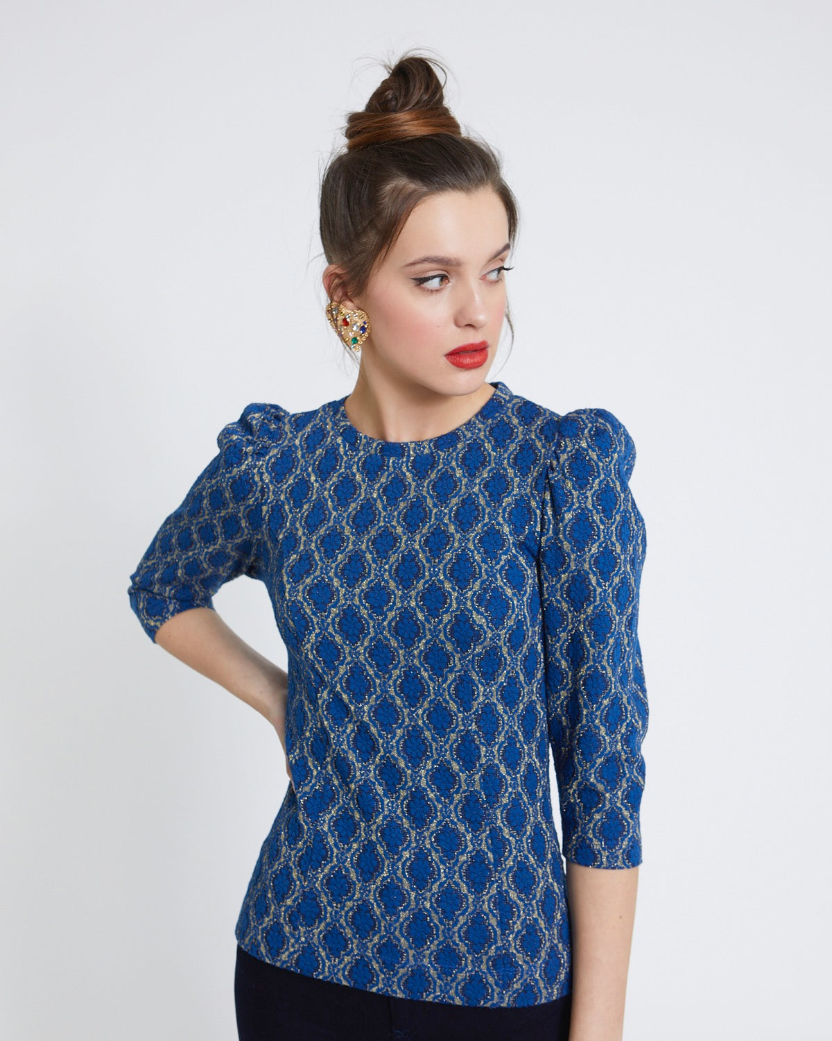 Flower Pattern Lurex Top azul - Savida