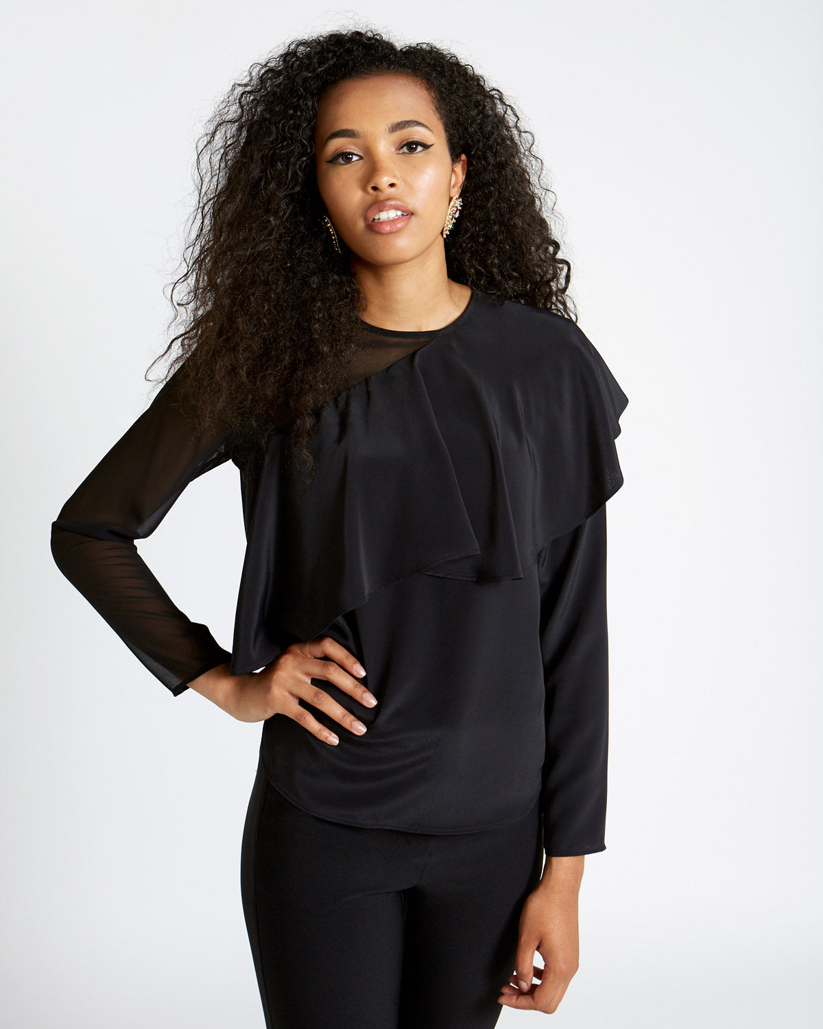 Sheer Panel Blouse negro - Savida