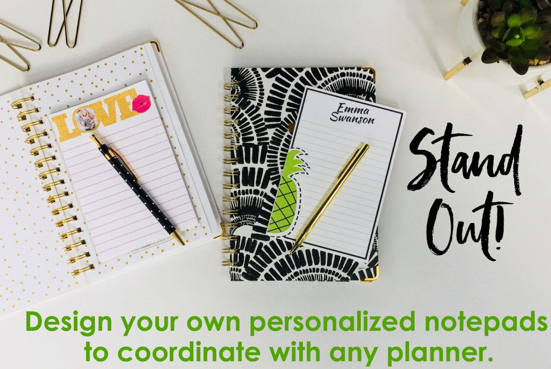 Planner dhesive pocket to hold personalized notepad in planner