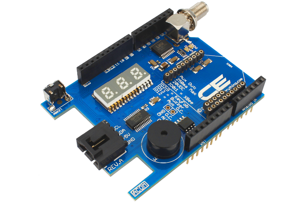 Arduino Uno Ultimate I2C Shield with Key Fob Receiver, 3-Digit LED Display,  Buzzer and Wireless Socket
