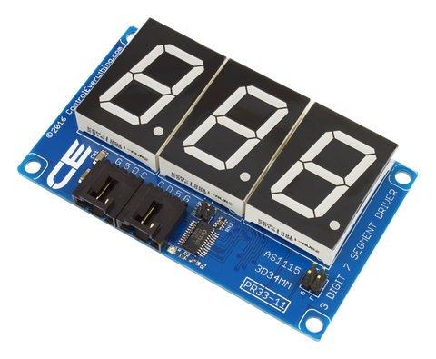 AS1115 34mm 3-Character Red 7-Segment Hexidecimal Display