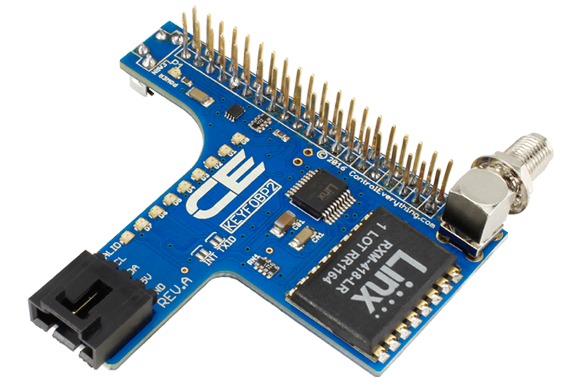 Raspberry Pi 2 and 3 Compatible I2C Shield with Key Fob Receiver