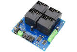 I2C Relay Controller 4-Channel 30-Amp SPST 4 Programmable Digital Inputs/Outputs