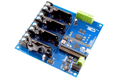 Solid-State Relay Shield for Arduino Micro I2C 4-Channel SPST Host Controller + 4 Programmable GPIO
