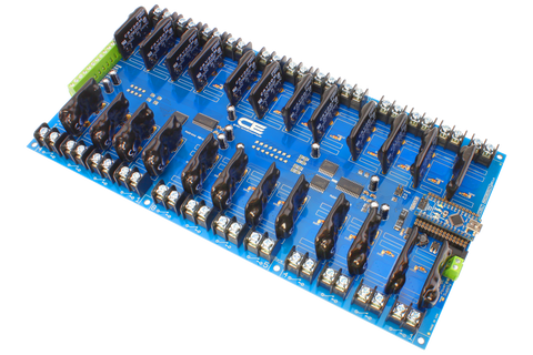 Solid-State Relay Shield for Arduino Nano I2C 24-Channel SPST Host Controller + 8 Programmable GPIO