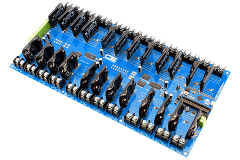 Solid-State Relay Shield for Arduino Micro I2C 24-Channel SPST Host Controller + 8 Programmable GPIO