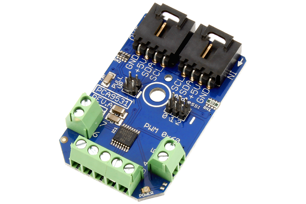 2-Channel 8-bit PWM with 8 Outputs & GPIO I2C LED Dimmer