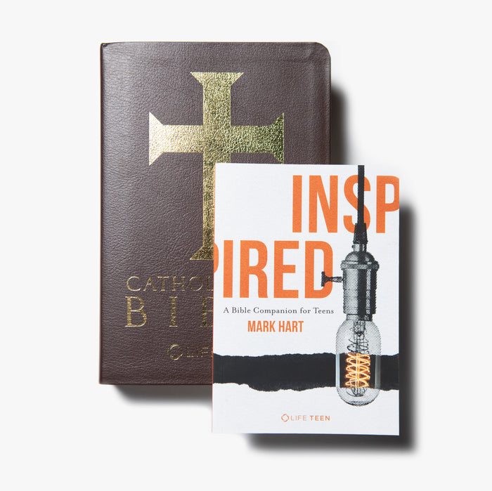 Catholic Teen Bible (Leather Bound) + Inspired Bundle