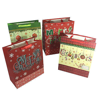 Allgala 12-PC Premium Christmas Gift Bags, Greetings, 3 size Available