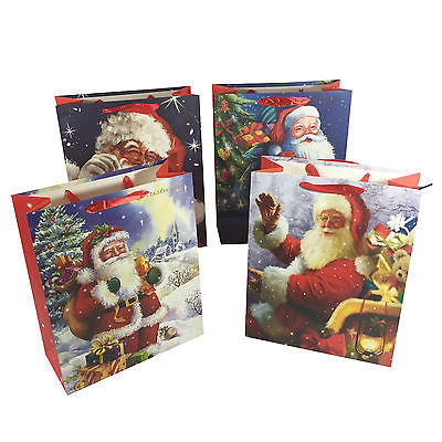Allgala 12-PC Premium Christmas Gift Bags, Santa, 3 size Available