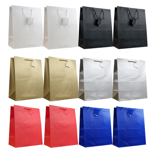 Allgala 12PK Value Premium Solid Color Paper Gift Bags