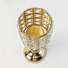 "Allgala 13"" Crystal Gold Plated Tea-light Votive Decorative Candle Holder"