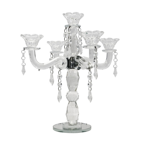 Allgala 5-Arm Crystal Candelabra Taper Candlestick Candle Holder …