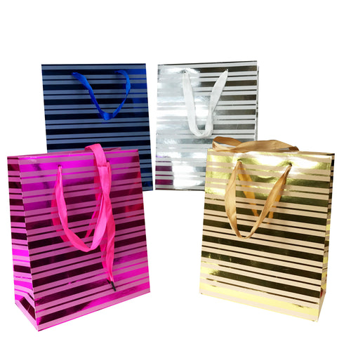 Allgala 12-pc Everyday Gift bags Metallic Strip Designs