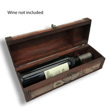 Allgala Wooden Wine Bottle Box with Antique Finish, Old Map