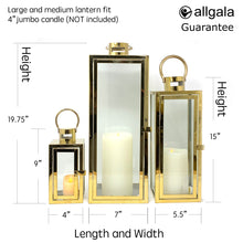 3-PC Set Jumbo Luxury Modern Indoor/Outdoor Hurricane Candle Lantern Set with Chrome Plated Structure and Tempered Glass-Cuboid