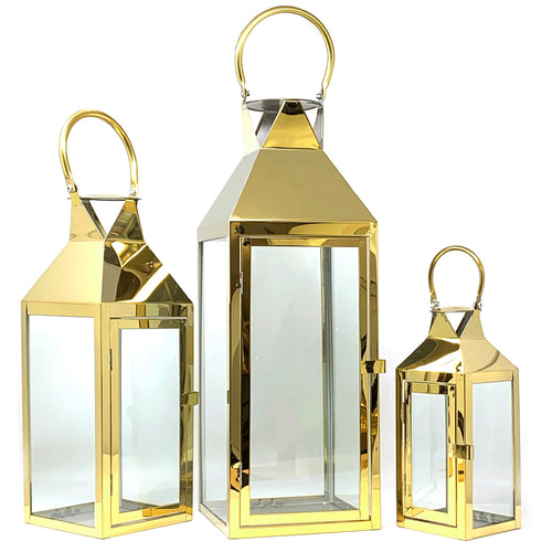 3-PC Set Jumbo Indoor/Outdoor Hurricane Candle Lantern Set with Chrome Plated Structure and Tempered Glass-Pyramid Top
