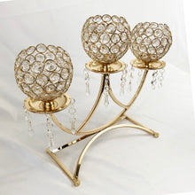 Allgala 3-Arm Bowls Tealight Crystal Candelabra Candle Holder