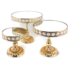 3 Piece Set High Quality Crystal Gold Plated Cake Stand with Mirror Plate